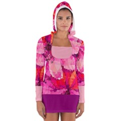 Geometric Magenta Garden Women s Long Sleeve Hooded T Shirt