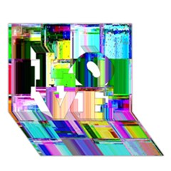 Glitch Art Abstract LOVE 3D Greeting Card (7x5)