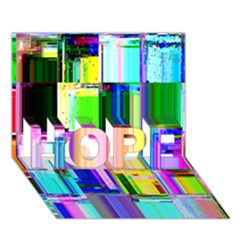 Glitch Art Abstract HOPE 3D Greeting Card (7x5)