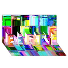 Glitch Art Abstract PARTY 3D Greeting Card (8x4)