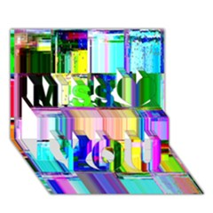 Glitch Art Abstract Miss You 3D Greeting Card (7x5)