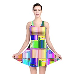 Glitch Art Abstract Reversible Skater Dress