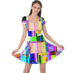 Glitch Art Abstract Cap Sleeve Dresses