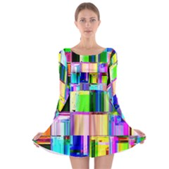 Glitch Art Abstract Long Sleeve Skater Dress