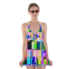 Glitch Art Abstract Halter Swimsuit Dress