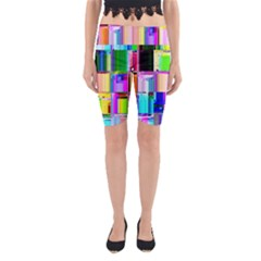 Glitch Art Abstract Yoga Cropped Leggings
