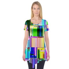 Glitch Art Abstract Short Sleeve Tunic