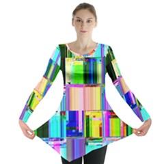 Glitch Art Abstract Long Sleeve Tunic