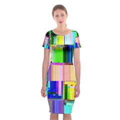 Glitch Art Abstract Classic Short Sleeve Midi Dress