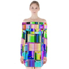Glitch Art Abstract Long Sleeve Off Shoulder Dress