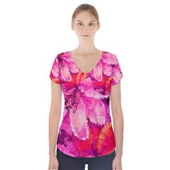 Geometric Magenta Garden Short Sleeve Front Detail Top