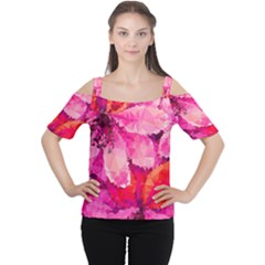 Geometric Magenta Garden Women s Cutout Shoulder Tee