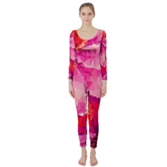 Geometric Magenta Garden Long Sleeve Catsuit