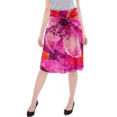 Geometric Magenta Garden Midi Beach Skirt