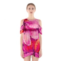 Geometric Magenta Garden Women s Cutout Shoulder One Piece