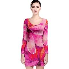Geometric Magenta Garden Long Sleeve Velvet Bodycon Dress