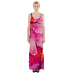 Geometric Magenta Garden Maxi Thigh Split Dress
