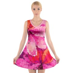 Geometric Magenta Garden V Neck Sleeveless Dress