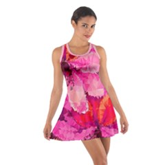 Geometric Magenta Garden Cotton Racerback Dress