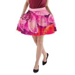 Geometric Magenta Garden A Line Pocket Skirt