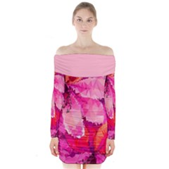 Geometric Magenta Garden Long Sleeve Off Shoulder Dress
