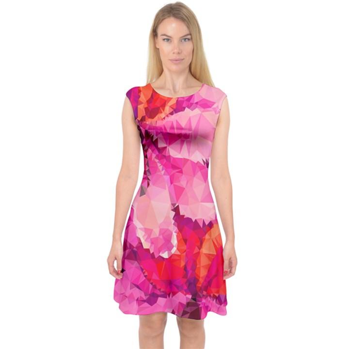 Geometric Magenta Garden Capsleeve Midi Dress