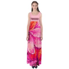 Geometric Magenta Garden Empire Waist Maxi Dress