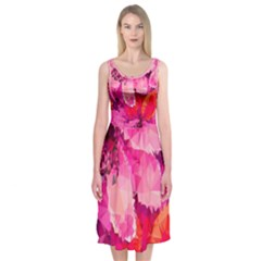 Geometric Magenta Garden Midi Sleeveless Dress