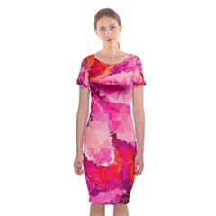 Geometric Magenta Garden Classic Short Sleeve Midi Dress