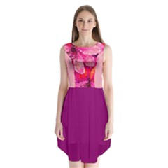 Geometric Magenta Garden Sleeveless Chiffon Dress