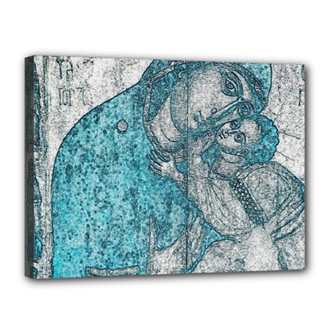 Mother Mary And Infant Jesus Christ  Blue Portrait Old Vintage Drawing Canvas 16  x 12