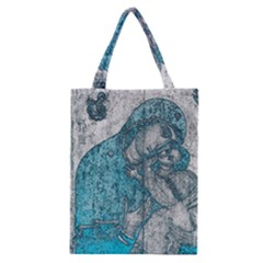 Mother Mary And Infant Jesus Christ  Blue Portrait Old Vintage Drawing Classic Tote Bag
