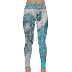 Mother Mary And Infant Jesus Christ  Blue Portrait Old Vintage Drawing Yoga Leggings