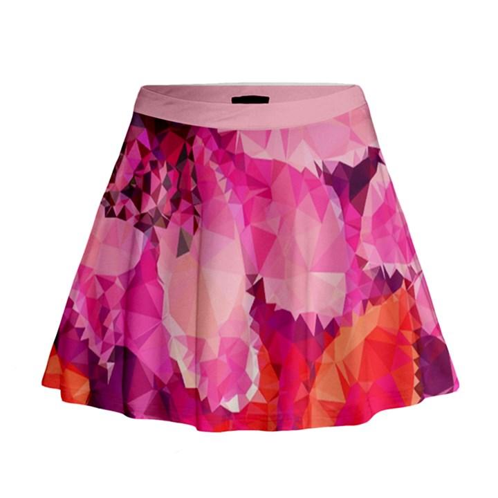 Geometric Magenta Garden Mini Flare Skirt