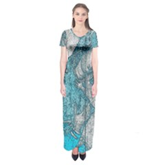 Mother Mary And Infant Jesus Christ  Blue Portrait Old Vintage Drawing Short Sleeve Maxi Dress