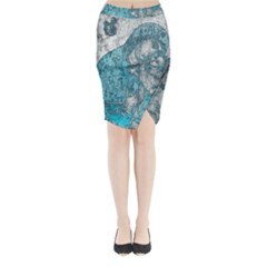 Mother Mary And Infant Jesus Christ  Blue Portrait Old Vintage Drawing Midi Wrap Pencil Skirt