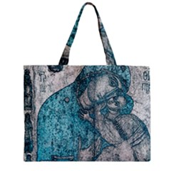 Mother Mary And Infant Jesus Christ  Blue Portrait Old Vintage Drawing Medium Tote Bag