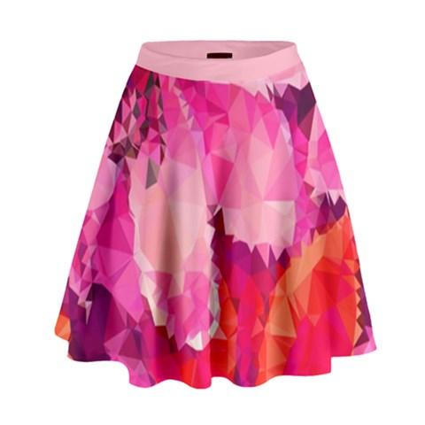 Geometric Magenta Garden High Waist Skirt