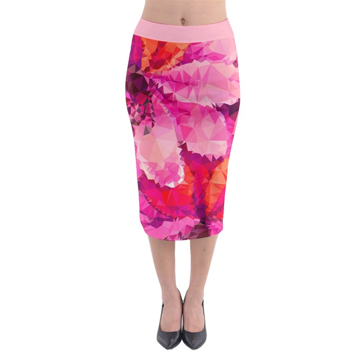 Geometric Magenta Garden Midi Pencil Skirt