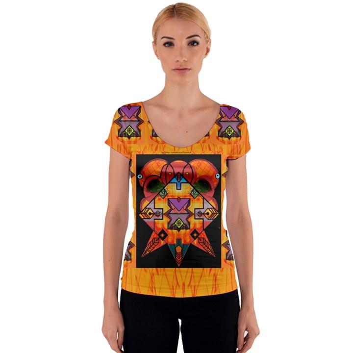Clothing (20)6k,kk Women s V-Neck Cap Sleeve Top
