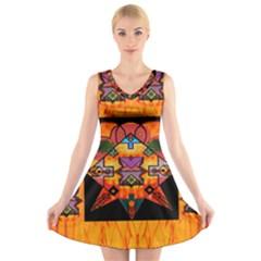 Clothing (20)6k,kk V-Neck Sleeveless Skater Dress
