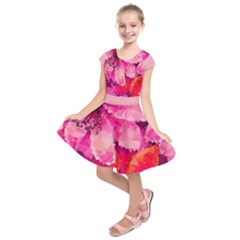 Geometric Magenta Garden Kids  Short Sleeve Dress
