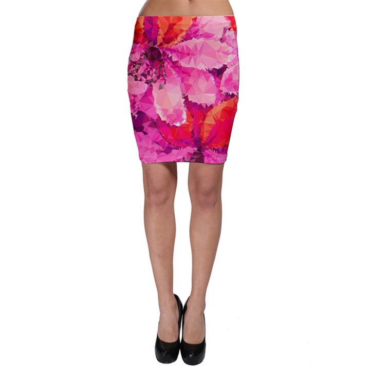 Geometric Magenta Garden Bodycon Skirt