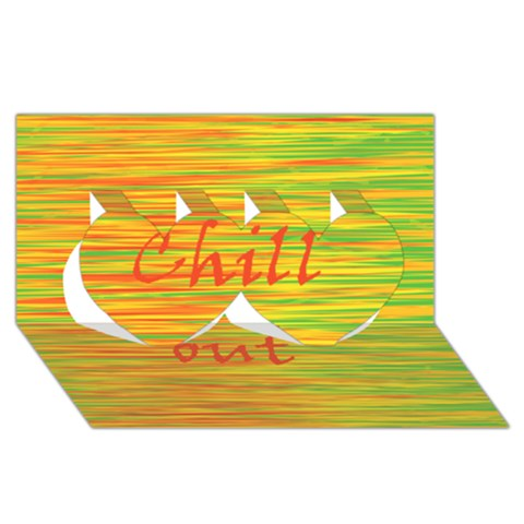 Chill out Twin Hearts 3D Greeting Card (8x4)
