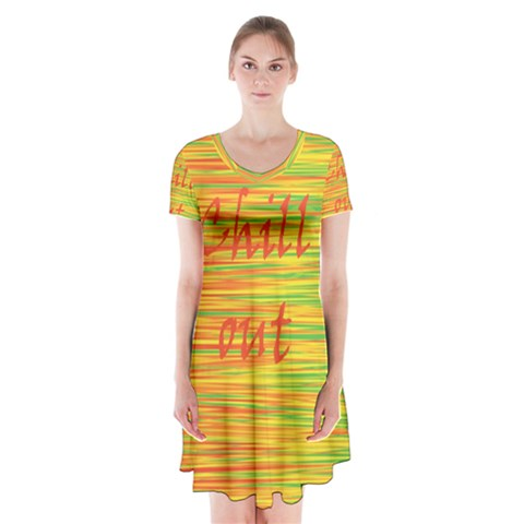 Chill out Short Sleeve V-neck Flare Dress