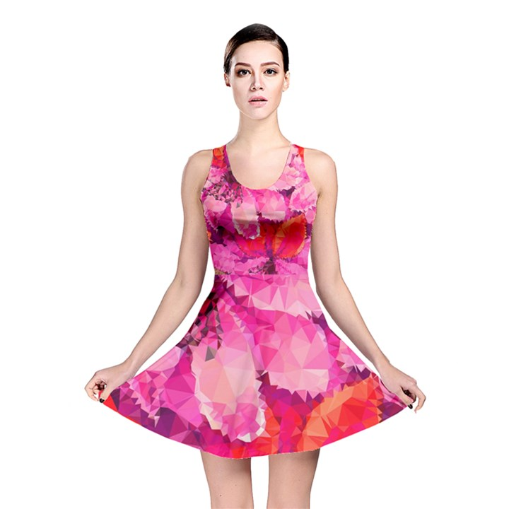 Geometric Magenta Garden Reversible Skater Dress