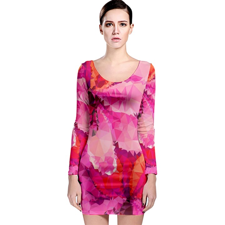 Geometric Magenta Garden Long Sleeve Bodycon Dress