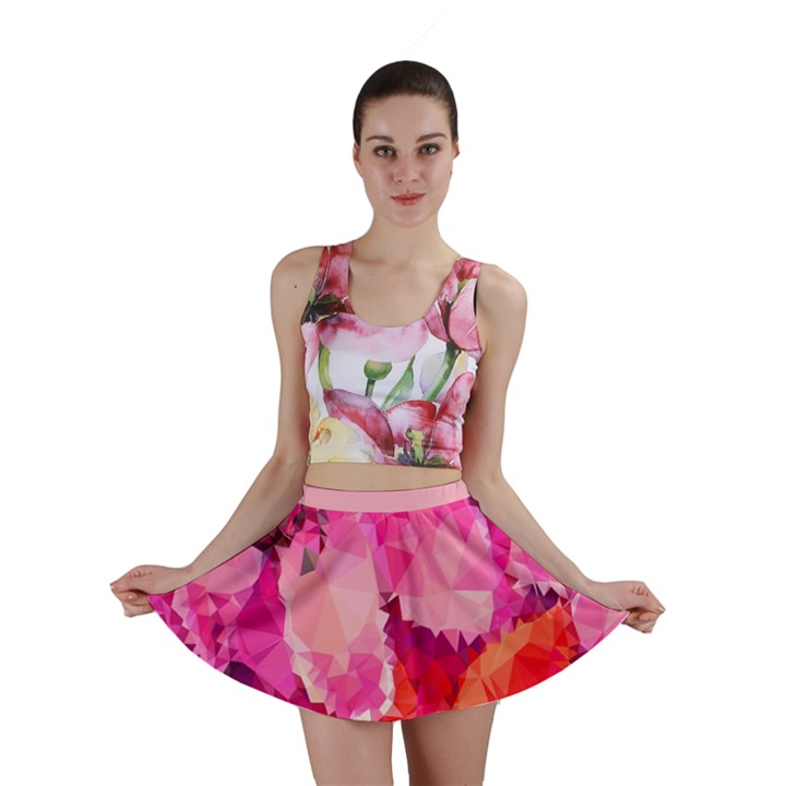 Geometric Magenta Garden Mini Skirt