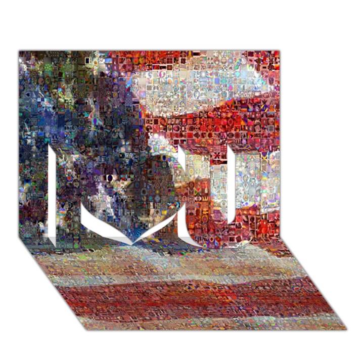 Grunge United State Of Art Flag I Love You 3D Greeting Card (7x5)