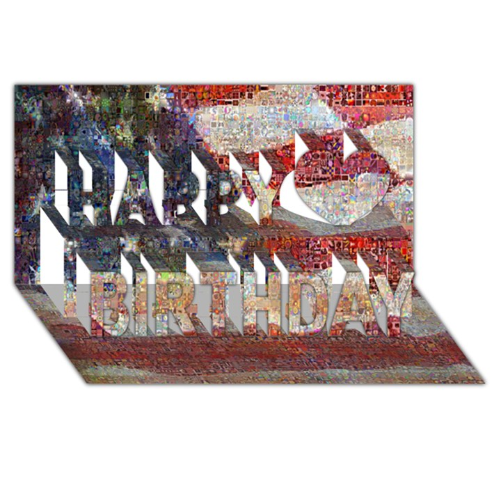 Grunge United State Of Art Flag Happy Birthday 3D Greeting Card (8x4)